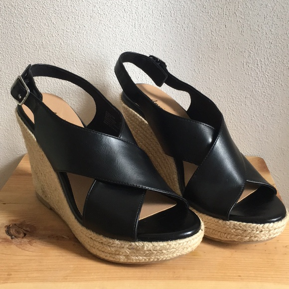 American Eagle Outfitters Shoes - black wedge heels